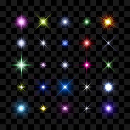 light beams: Colored starburst, stars and sparkles burst glowing light effect on transparent background. Transparent star. Illustration