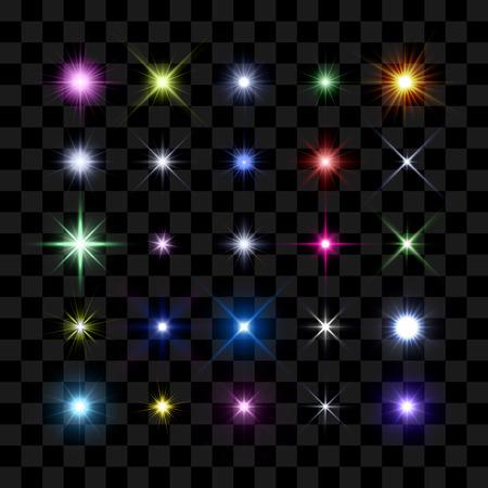 Colored starburst, stars and sparkles burst glowing light effect on transparent background. Transparent star. Illustration