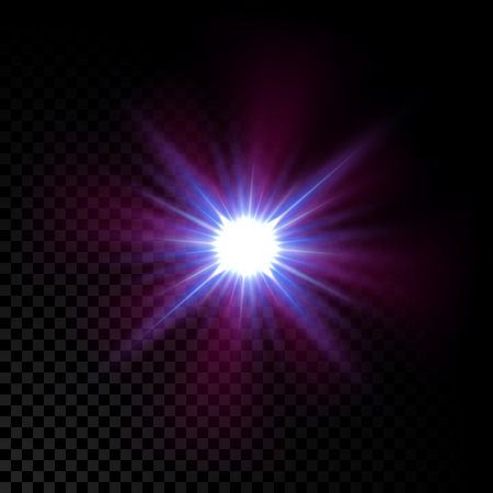 glowing star: Realistic vector glowing lens flare star light effect with sparkles bursts on transparent background.
