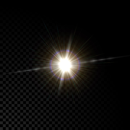 flare: Realistic vector glowing lens flare star light effect with sparkles bursts on transparent background.