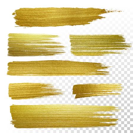 set vector pintura dorada accidente cerebrovascular frotis mancha. Resumen de oro brillante ilustración del arte textura. Resumen de oro brillante ilustración del arte textura.