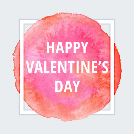 watercolor smear: Happy Valentines day card on red watercolor smear with frame border. Love design concept. Illustration