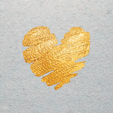 gold heart: Valentines day card template. Gold paint heart on craft cardboard background. Vector.