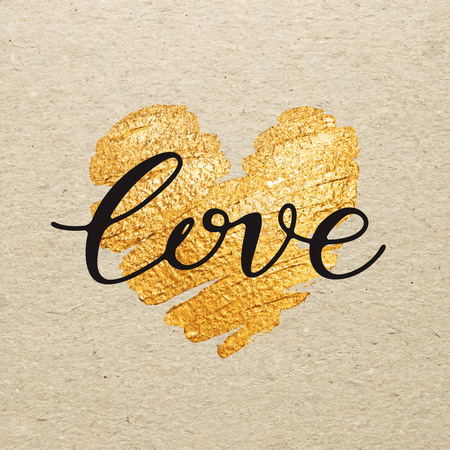 love letters: Valentines day card. Love calligraphy lettering with gold paint heart on craft background. Hand drawn letters.