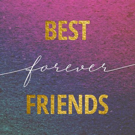 Mejores amigos para siempre de la tarjeta del día de San Valentín. letras de la caligrafía de oro en fondo púrpura del grunge. Amor concepto de diseño.