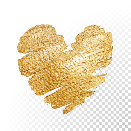 february: Vector gold paint heart on transparent background. Love concept design.