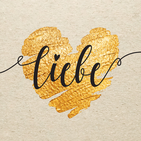 Liebe: German Valentines day card. Liebe calligraphy lettering with gold paint heart on craft background. Hand drawn letters. Illustration