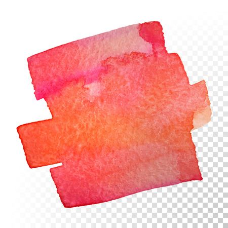 Abstract watercolor art hand paint isolated on transparent background. Vector watercolor stroke stains. Red-orange watercolour banner Vettoriali
