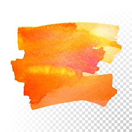 peinture abstraite à la main d'art d'aquarelle isolé sur fond transparent. Vector course aquarelle taches. Rouge orangé aquarelle bannière