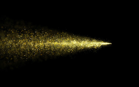 yellow star: Abstract gold glittering star dust trail of star particles. Stardust particular background. Stock Photo