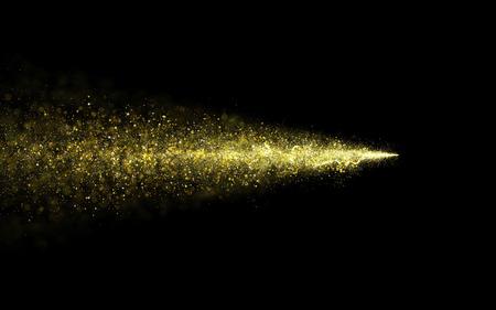 amarillo y negro: Resumen de oro reluciente estrella estela de polvo de partículas de estrellas. Stardust particular, de fondo.