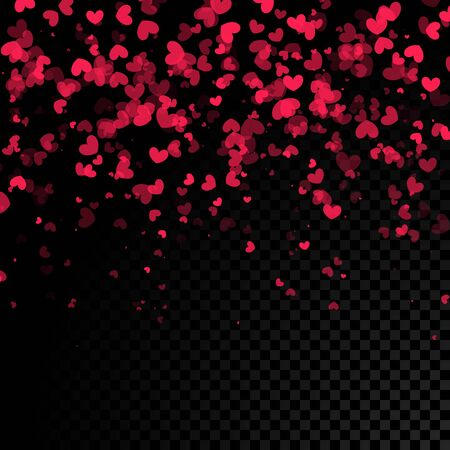 hearts background: Vector falling red pink hearts on black transparent background. Illustration