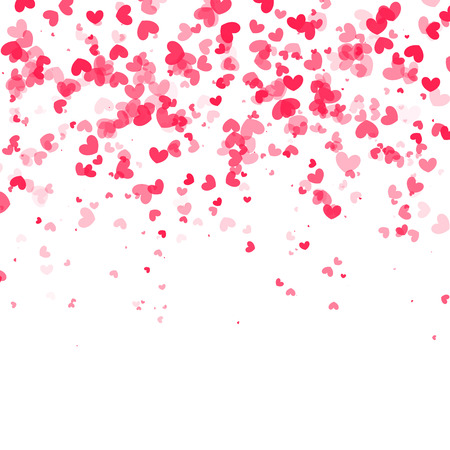 wedding background: Vector falling red pink hearts on white transparent background.