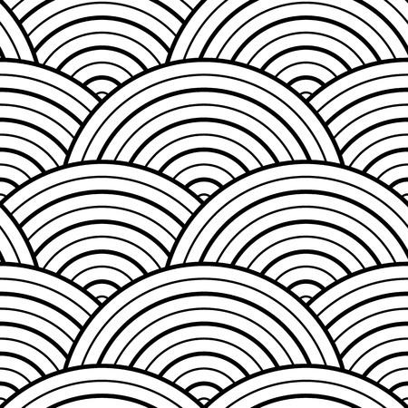 Vector witte orinetale stijl achtergrond - naadloze textuur voor grafische of website sjabloon lay-out. Interieurwanddecoratie. 3D Vector interieur muurpaneel patroon. Geometrische schaalboogontwerp.