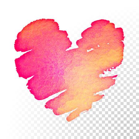 バレンタインの日ピンクと赤水彩心グリーティング カードの背景を透明にします。