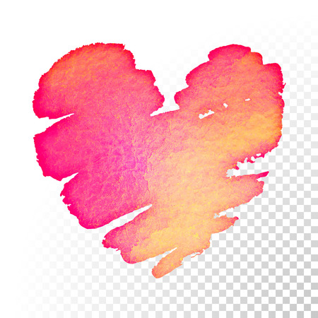 transparent background: Valentines day pink and red watercolor heart on transparent background for greeting card.