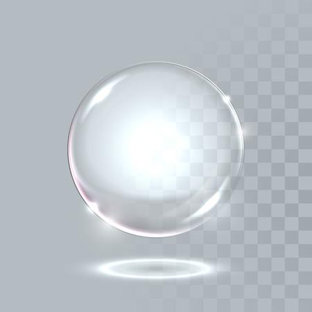 Vector 3D realistische water sferische bal. Glazige sprankelende glanzende druppel zeepbel geïsoleerd op een transparante achtergrond. Eco concept.
