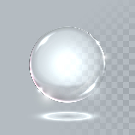 Vector 3D realistic water spherical ball. Glassy sparkling shiny droplet bubble isolated on transparent background. Eco concept. Vettoriali