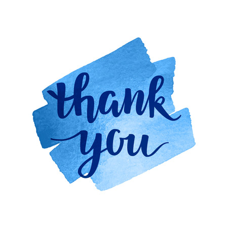 blue you: Thank You vector hand written calligraphic lettering on blue watercolor background. Thanksgiving gratitude greeting card. Handmade concept.