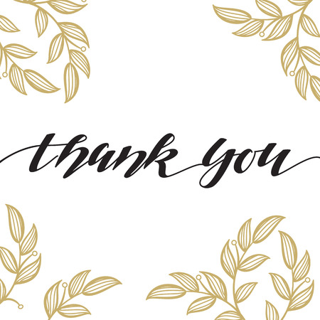 Thank You vector hand written calligraphic lettering on white background with floral pattern.