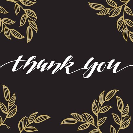 signature: Thank You hand written pen signature on black background with leaves pattern. Handmade pen scratch poster.