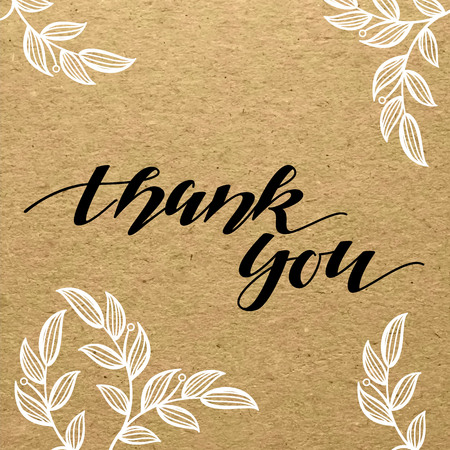 Thank You hand calligraphic handmade title on carton paper with flowery ornament. Scrapbook sketch.