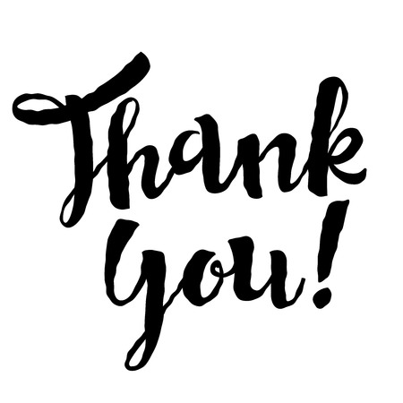 ballpen: Thank You vector hand drawn calligrahy lettering on white background. Thanksgiving day concept.
