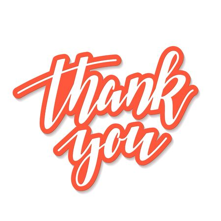Thank You volumed vector hand written lettering on white background with orange outlines. Thanksgiving day concept