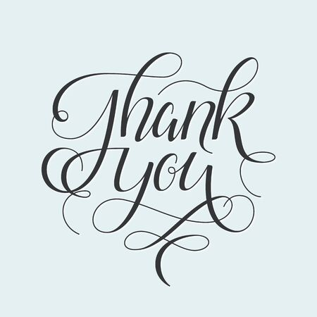 scratch card: Thank You hand drawn calligraphic pen scratch ornate lettering Thanksgiving greeting card.