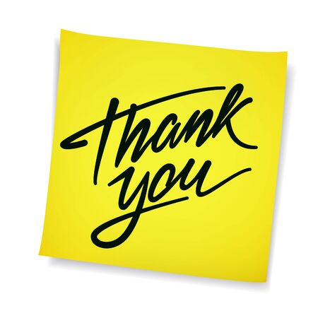 sticky note: Thank You hand drawn calligraphic pen scratch lettering on yellow sticky note background. Thanksgiving message concept.