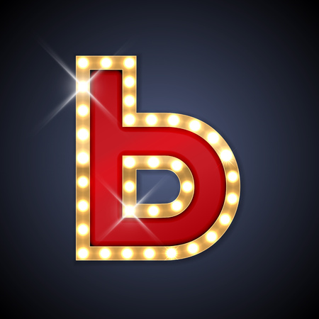 night club: Vector illustration of realistic retro signboard cyrillic letter The Soft Sign. Part of alphabet including special European letters and symbols.