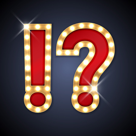 marquee lights vector illustration of realistic retro signboard of question and exclamation mark part