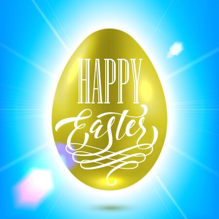 bright sun: Easter poster. Spring vector illustration of gold shining egg with sun beams and on bright blue sky background Illustration