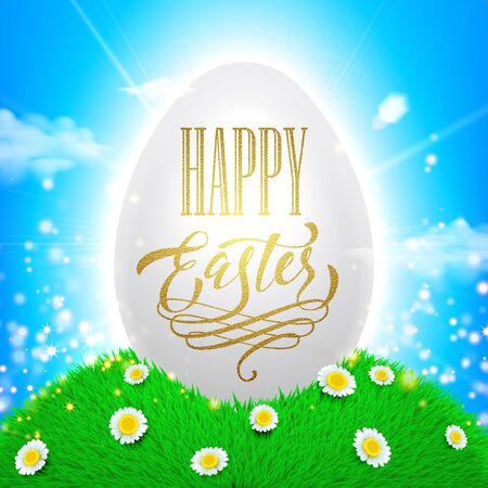 sun flowers: Easter poster. Spring vector illustration of white shining egg with sun beams, flowers on grass and bright blue sky background