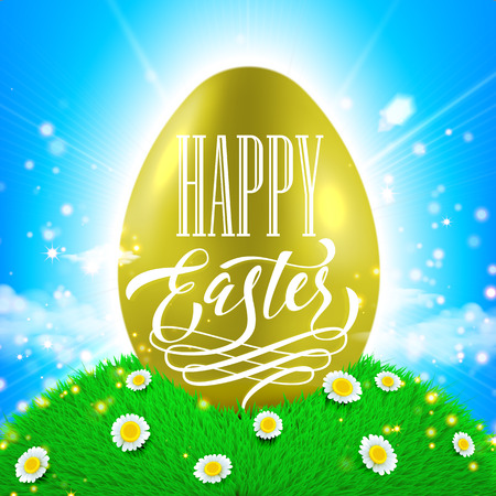 sun flower: Easter poster. Spring vector illustration of gold shining egg with sun beams, flowers on grass and bright blue sky background Illustration