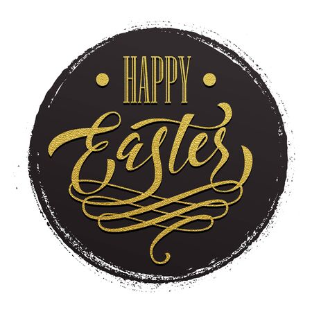 grundge: Happy Easter label. Gold calligraphy scratch title on grundge circle background