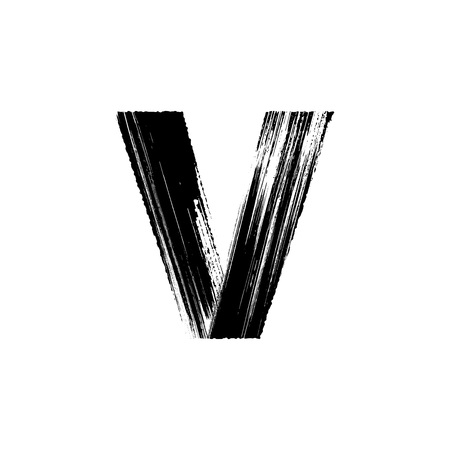 Uppercase vector letter V hand-drawn with dry brush