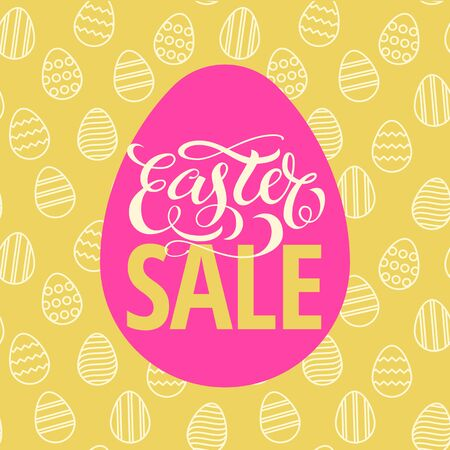 easter sign: Easter poster design pink egg and seamless egg pattern yellow background. Vector illustration with calligraphy title Illustration