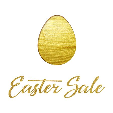 gold egg: Easter poster design with gold egg. Vector calligraphy title illustration template