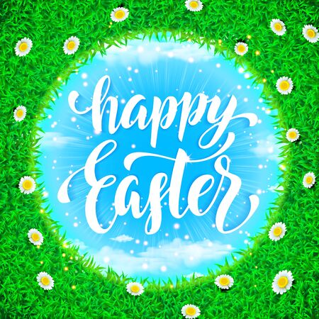 sun rise: Easter poster. Spring vector illustration of grass globe ball with sun rise and chamomile flowers on bright blue circle sky background with white clouds