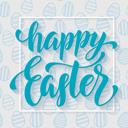 easter background: Easter poster design blue calligraphy and seamless blue egg pattern background. Vector illustration with title