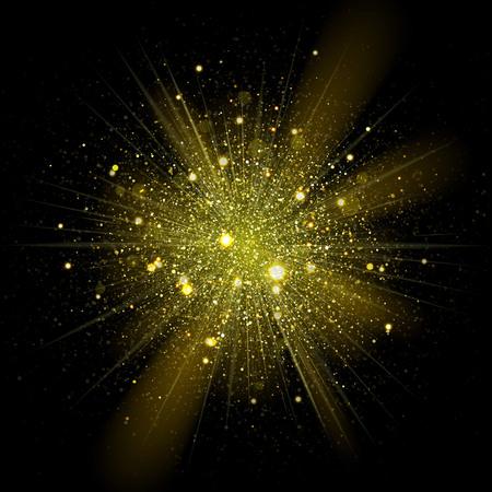 oro: Vector de estrellas de moda chispas en explosión. El brillar brillantes partículas en ouburst estrellado cósmica de fondo en la oscuridad Vectores