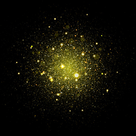 Vector fashionable stars sparkles in space. Glittering shining particles in dark cosmic galaxy background