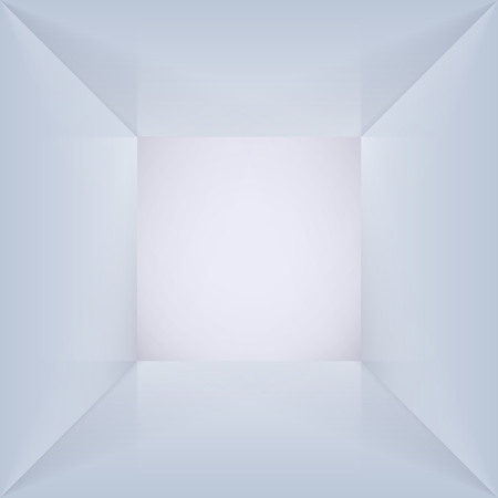 Vector quadratische Box mit leeren Innenraum. 3D beleuchtete leeren Raum Interieur perspect Ansicht. Photobox innen. Vektorgrafik