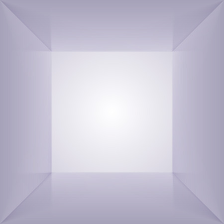 box open: Vector square box with blank inner space. 3D gray lit empty room interior perspect view. Photobox inside. Illustration