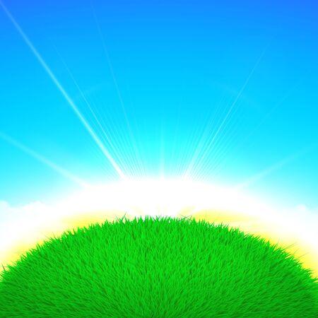 pelota caricatura: Vector cartel de la primavera ilustraci�n de la pelota globo de hierba con la salida del sol brillante sobre fondo azul cielo Vectores