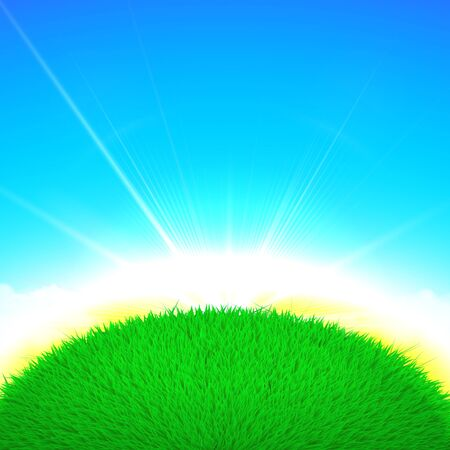 sun sky: Vector Spring poster illustration of grass globe ball with sun rise  on bright blue sky background Illustration
