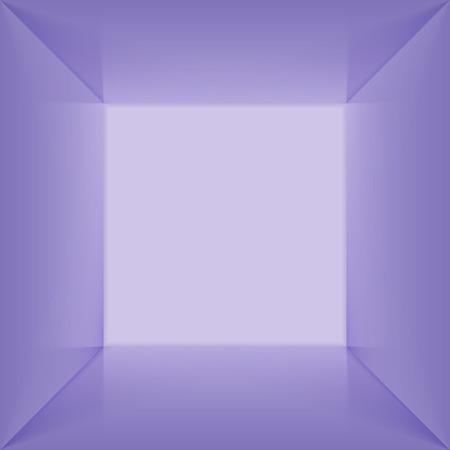 Vector piazza lightbox con spazio interno vuoto. 3D blu acceso stanza vuota vista perspect interno. Photobox all'interno. Vettoriali
