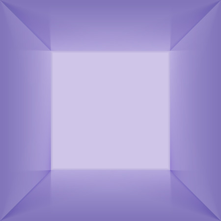 Vector square lightbox with blank inner space. 3D blue lit empty room interior perspect view. Photobox inside.