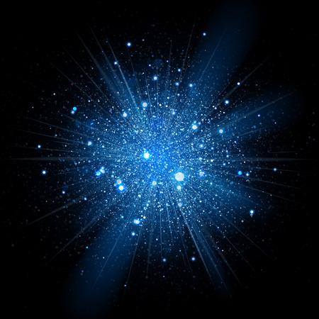 negro: El brillo azul partículas de efecto de fondo. Textura con gas. polvo de estrellas chispas en explosión en fondo negro.